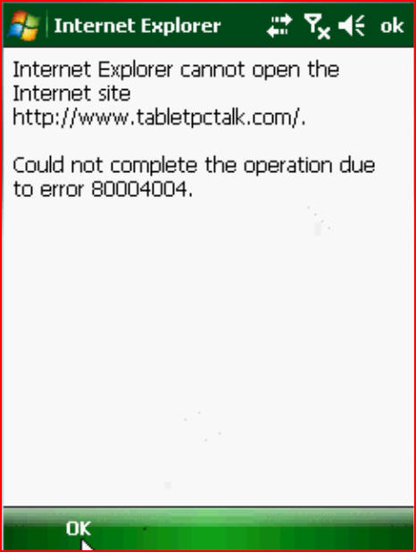 Internet Explorer Mobile 6 Error